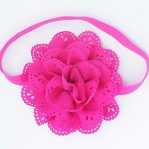 Lovely Girls Solid Pink Flower Headband